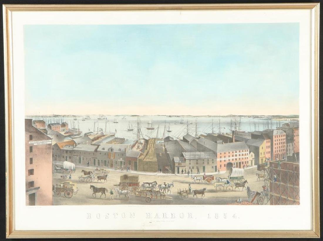 """""""BOSTON HARBOR, 1854"""" LITHOGRAPH after JH Bufford"""