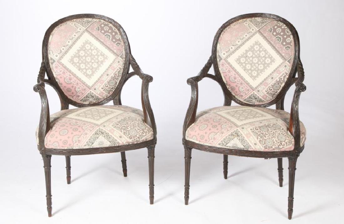 PAIR OF FINELY CARVED UPHOLSTERED ARMCHAIRS
