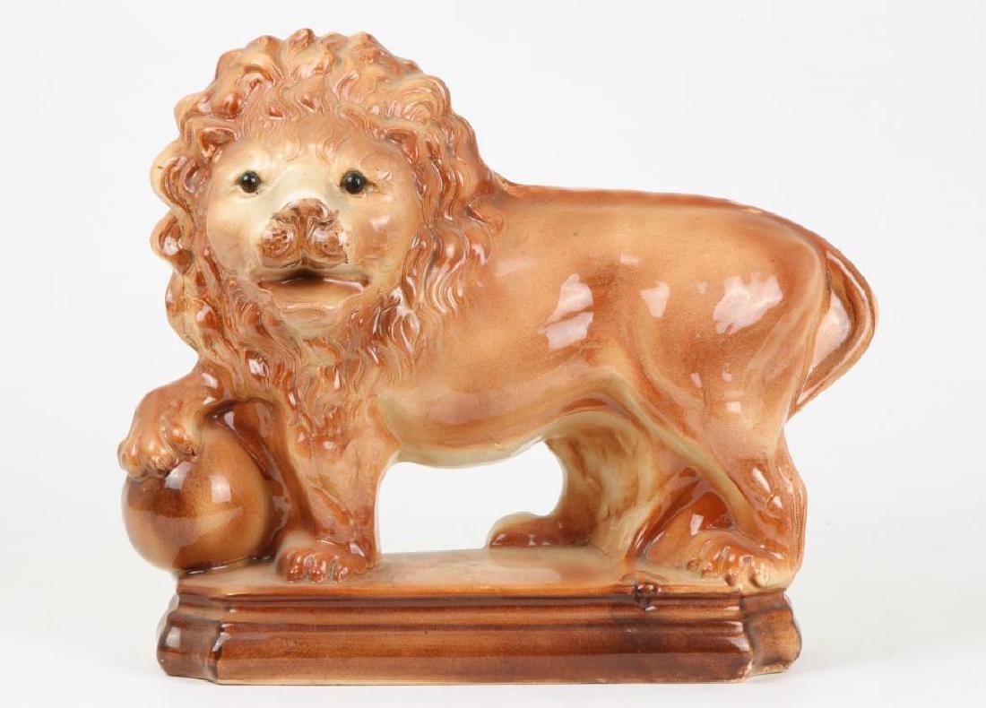 (19th c) CERAMIC LION POSSIBLY STAFFORDSHIRE