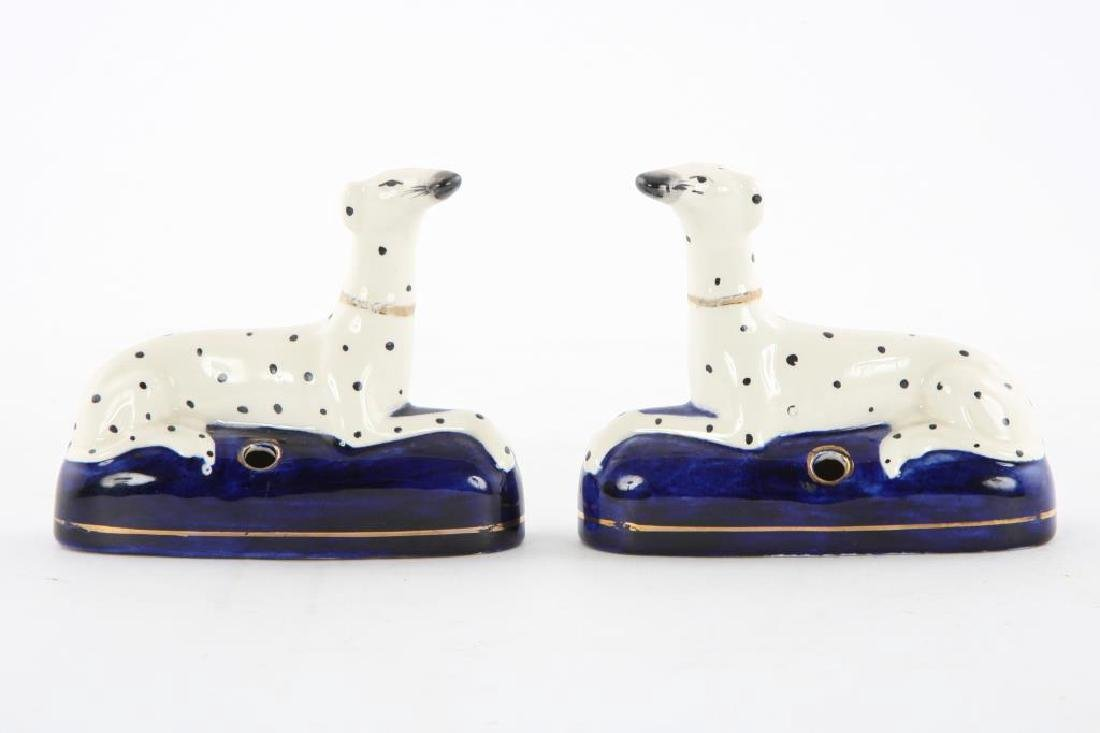 PAIR OF STAFFORDSHIRE DALMATION INKWELLS