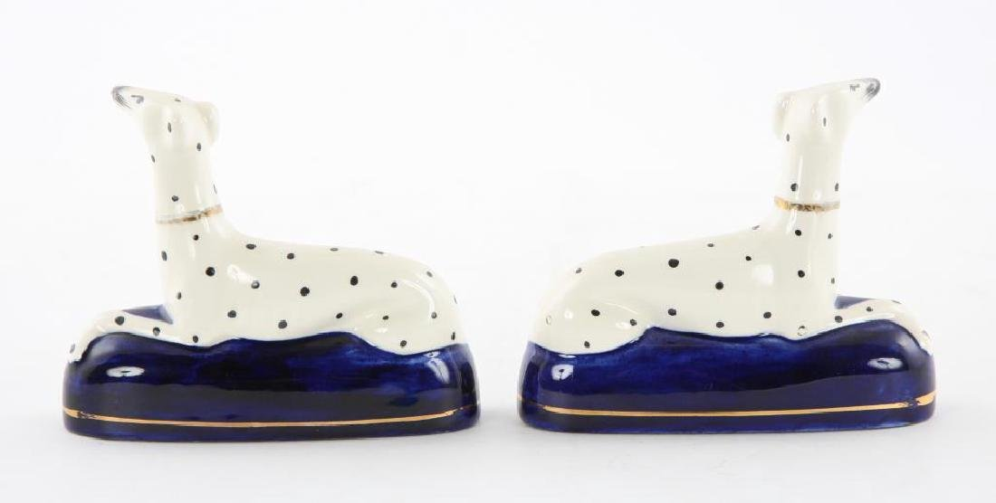 PAIR OF STAFFORDSHIRE DALMATION INKWELLS - 4
