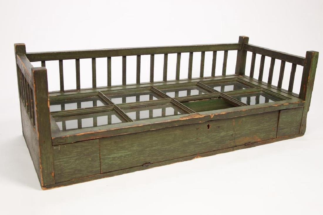 COUNTRY STORE DISPLAY CASE IN GREEN PAINT