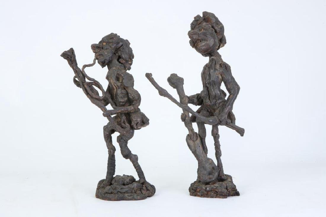 (2) CARVED BURLED ROOT WOOD FIGURES