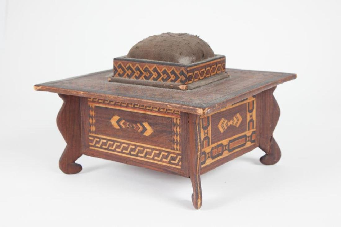 INLAID SEWING BOX with PIN CUSHION & DRAWER c 1900