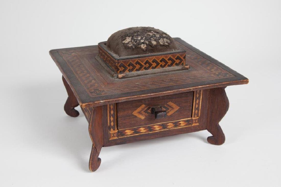 INLAID SEWING BOX with PIN CUSHION & DRAWER c 1900 - 3