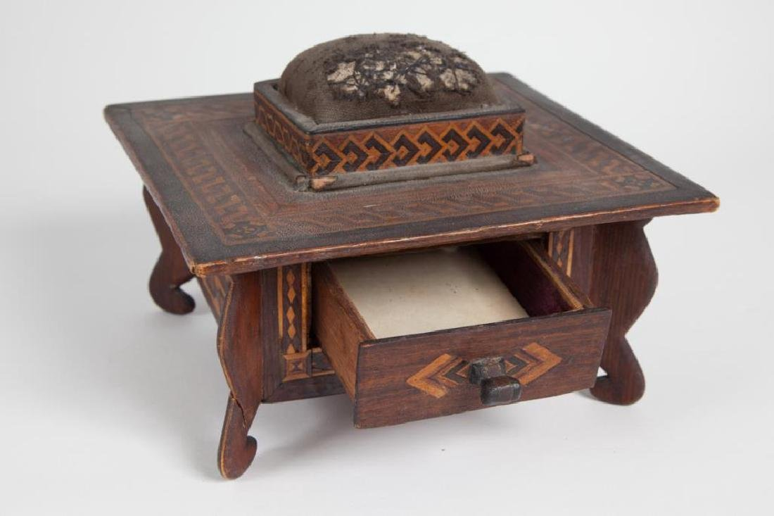 INLAID SEWING BOX with PIN CUSHION & DRAWER c 1900 - 4