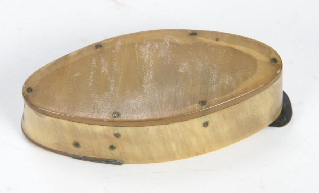 (19th c) HORN AND BRASS SNUFF BOX - 5