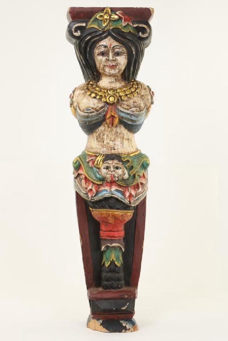CARVED AND PAINTED WOODEN CARYATID COLUMN