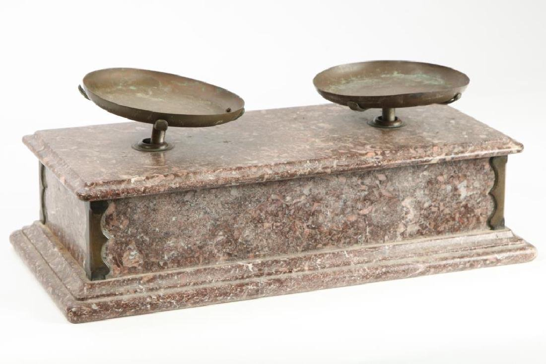 COUNTRY STORE MARBLE AND BRASS BALANCE SCALES 1866