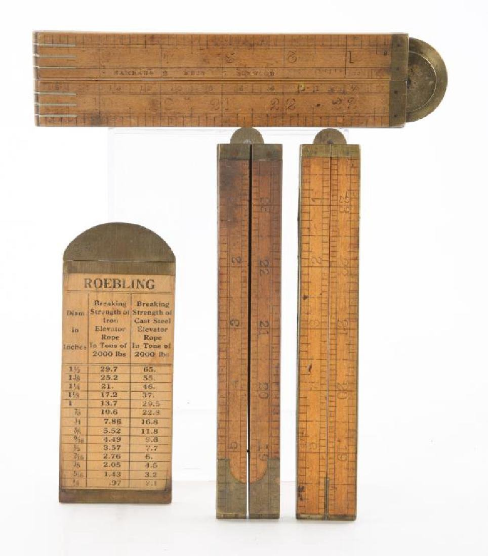(4) EARLY RULERS / CALIPERS / LEVEL / PROTRACTOR