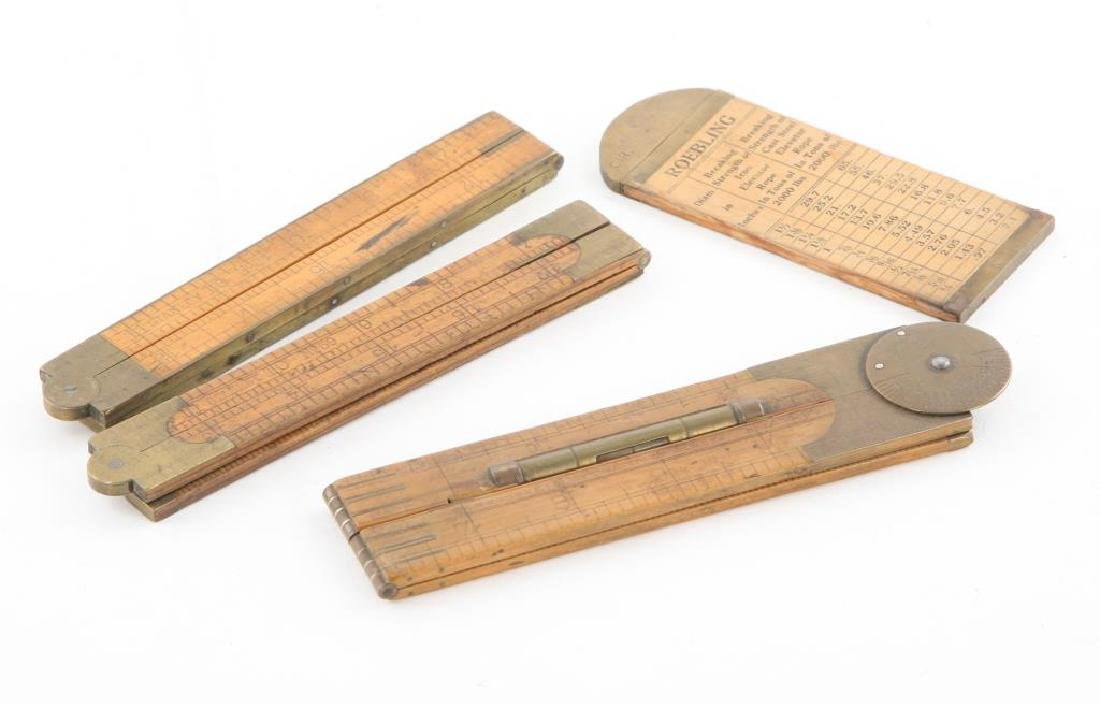 (4) EARLY RULERS / CALIPERS / LEVEL / PROTRACTOR - 2