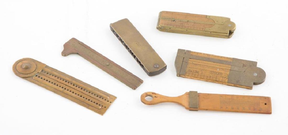 (6) EARLY RULERS, CALIPERS and WIRE GAUGES