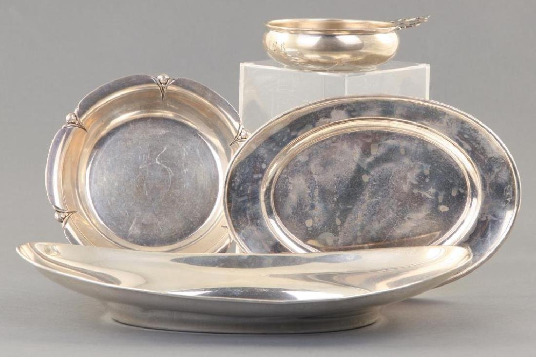(3) SMALL STERLING SILVER TRAYS AND A PORRINGER