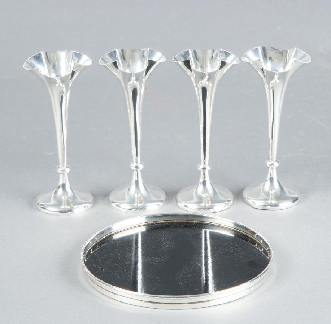 (4) MAPPIN & WEBB STERLING SILVER CORDIAL & TRAY