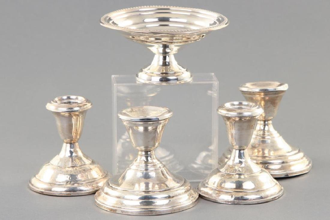 (2) PAIR OF STERLING SILVER CANDLESTICKS & BOWL