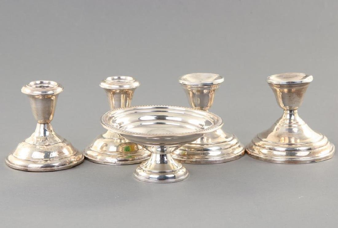 (2) PAIR OF STERLING SILVER CANDLESTICKS & BOWL - 2