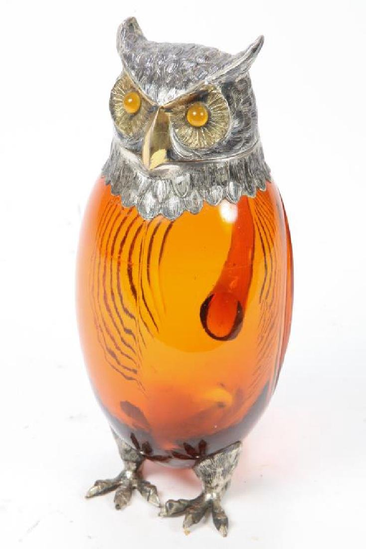 CUT AMBER GLASS AND STERLING SILVER OWL PITCHER