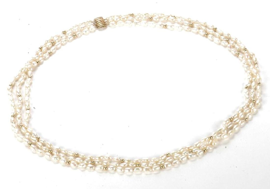 FRESH WATER PEARL NECKLACE with GOLD BEADS & CLASP - 10
