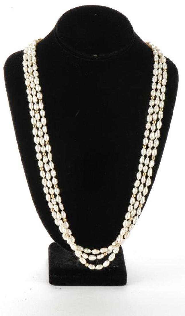 FRESH WATER PEARL NECKLACE with GOLD BEADS & CLASP