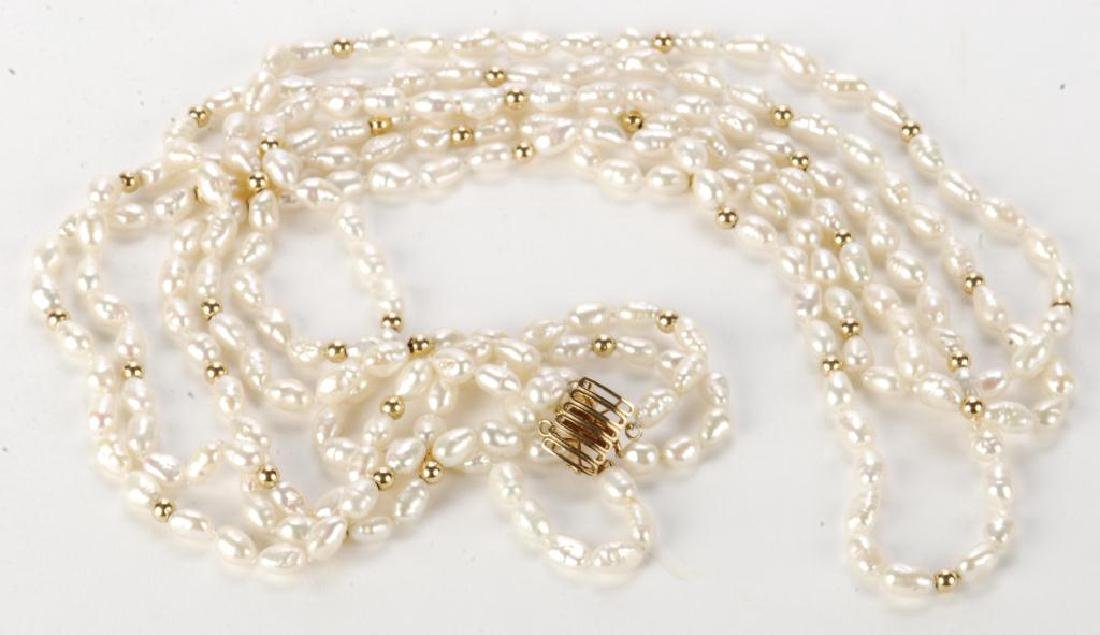 FRESH WATER PEARL NECKLACE with GOLD BEADS & CLASP - 3