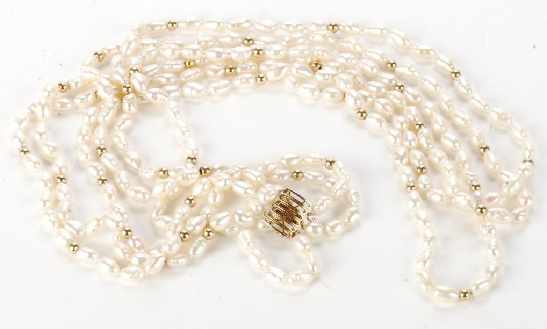 FRESH WATER PEARL NECKLACE with GOLD BEADS & CLASP - 4