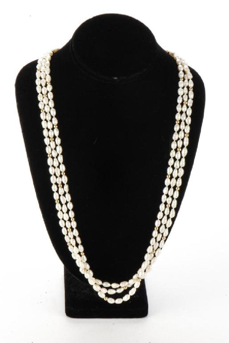 FRESH WATER PEARL NECKLACE with GOLD BEADS & CLASP - 5
