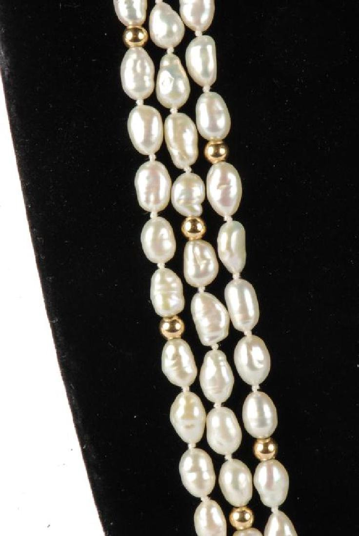 FRESH WATER PEARL NECKLACE with GOLD BEADS & CLASP - 6
