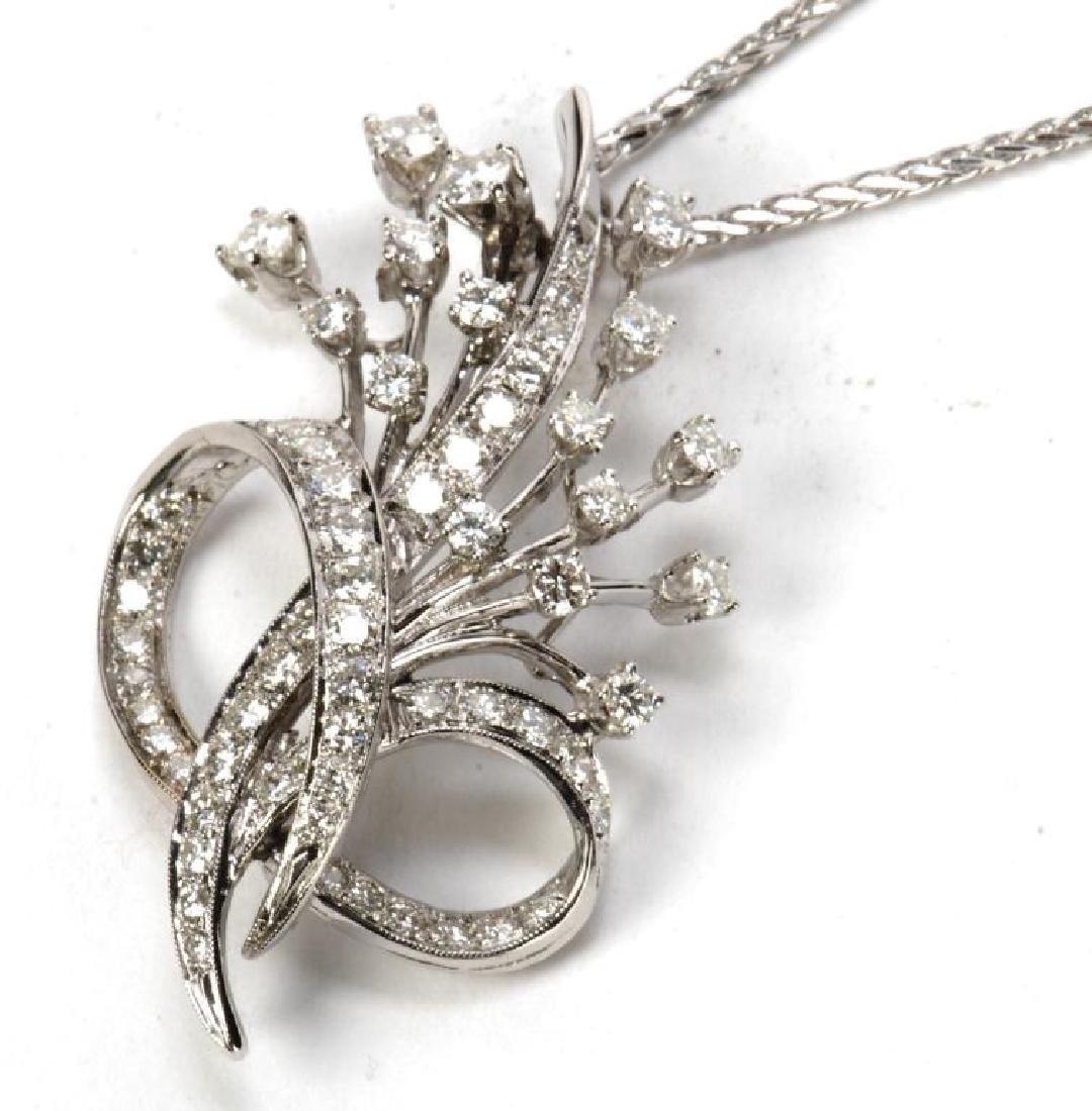 14k WHITE GOLD AND DIAMOND PENDENT - 6