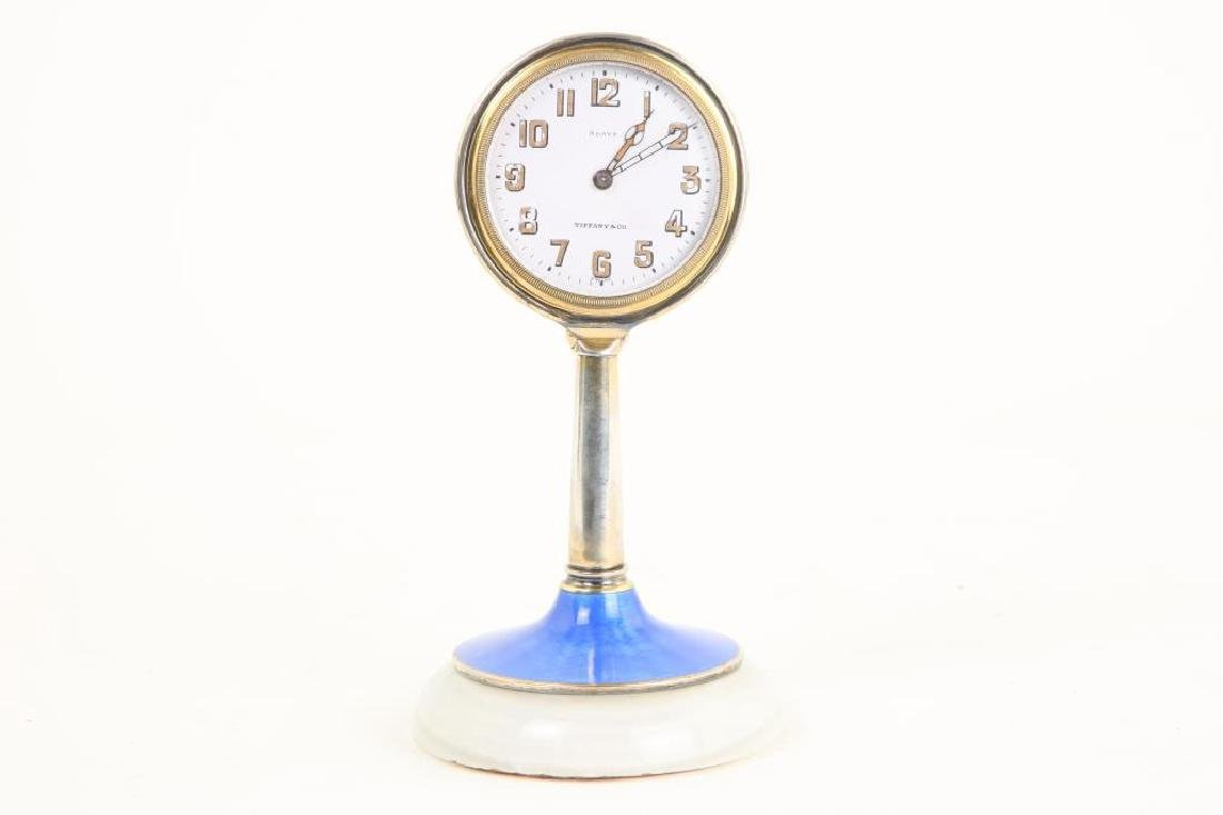 TIFFANY & CO DESK CLOCK on GUILLOCHE ENAMEL STAND
