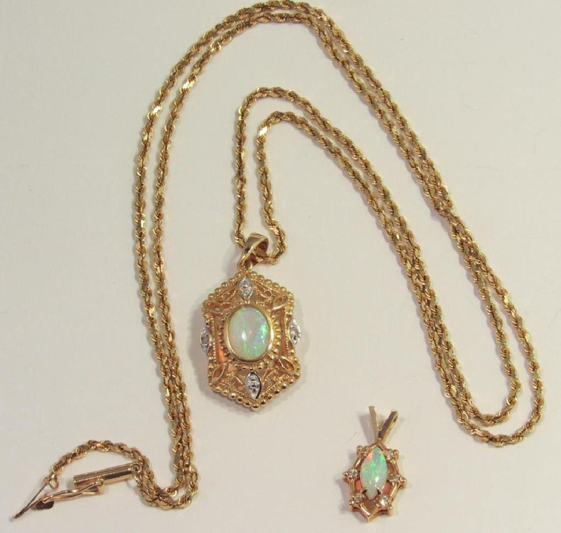 14K GOLD OPAL PENDANT ON CHAIN - 2