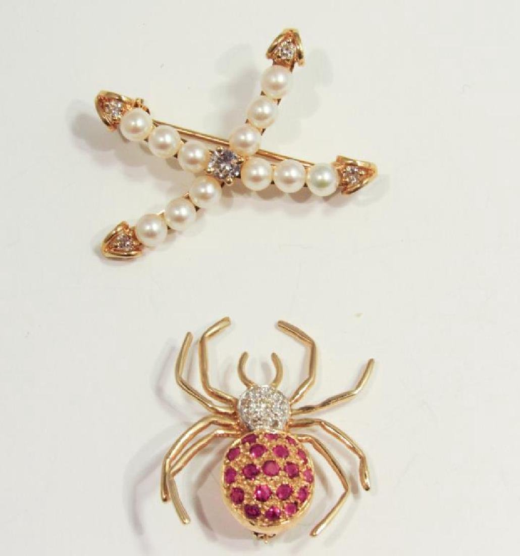 14K GOLD GEMSET SPIDER PIN W/ 18K PEARL PIN