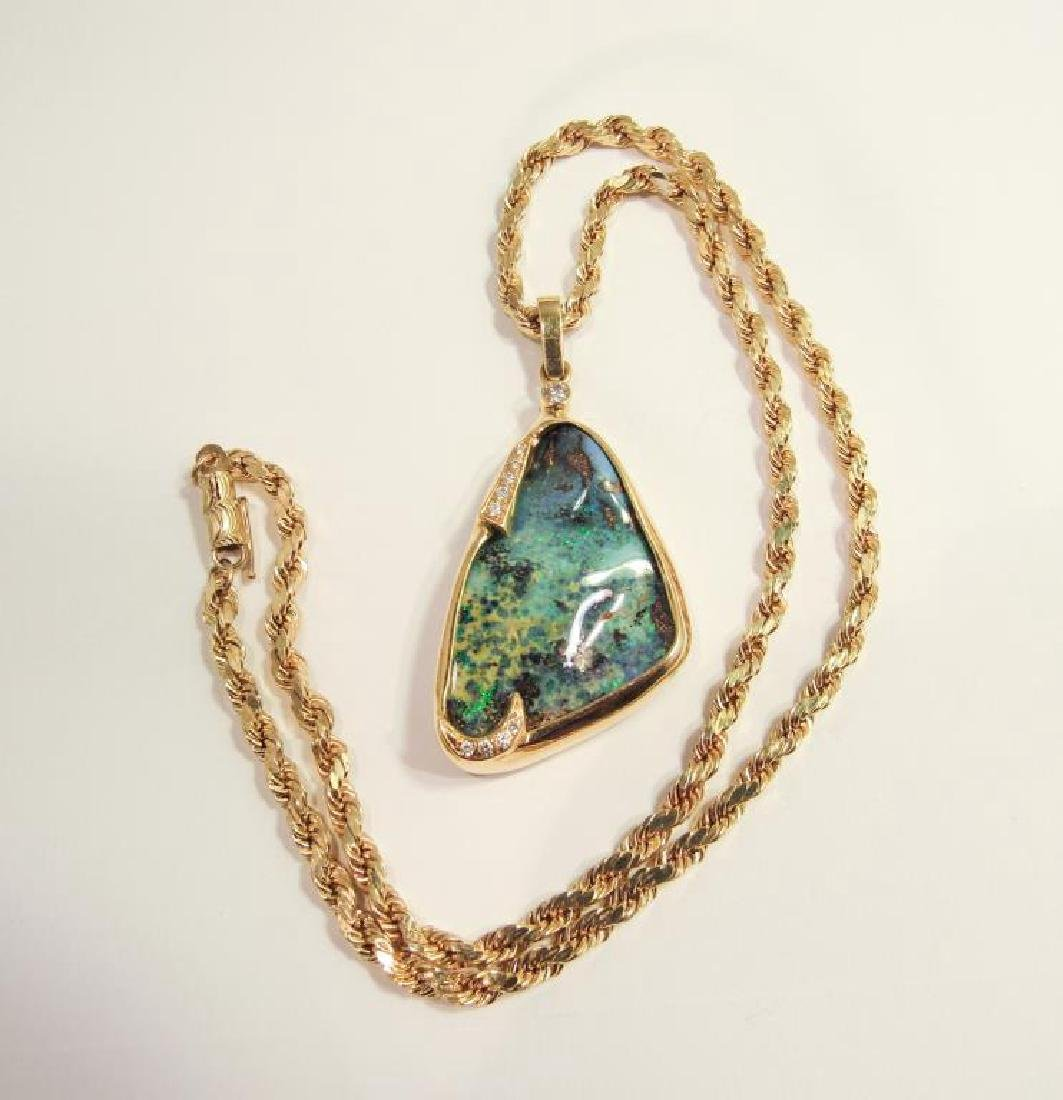 18K GOLD BOULDER OPAL PENDANT ON 14K CHAIN