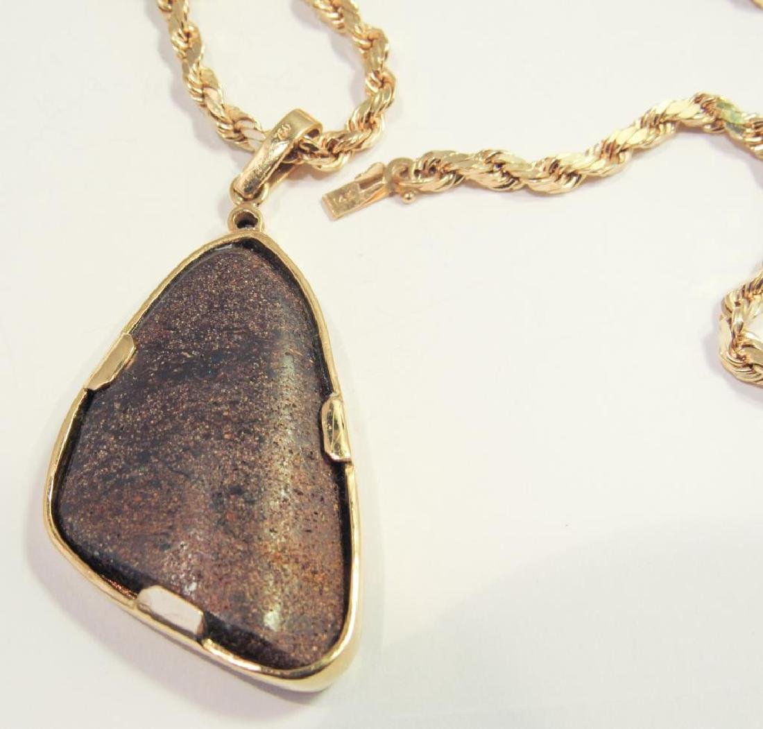 18K GOLD BOULDER OPAL PENDANT ON 14K CHAIN - 2