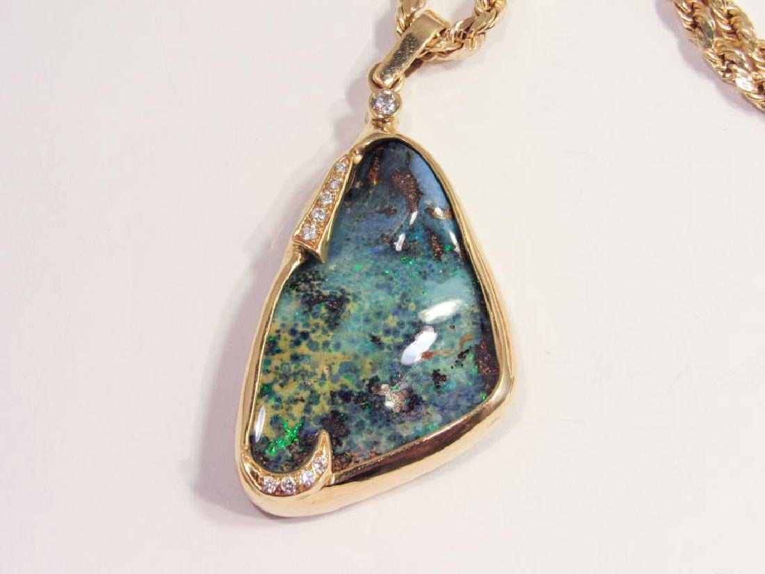 18K GOLD BOULDER OPAL PENDANT ON 14K CHAIN - 3
