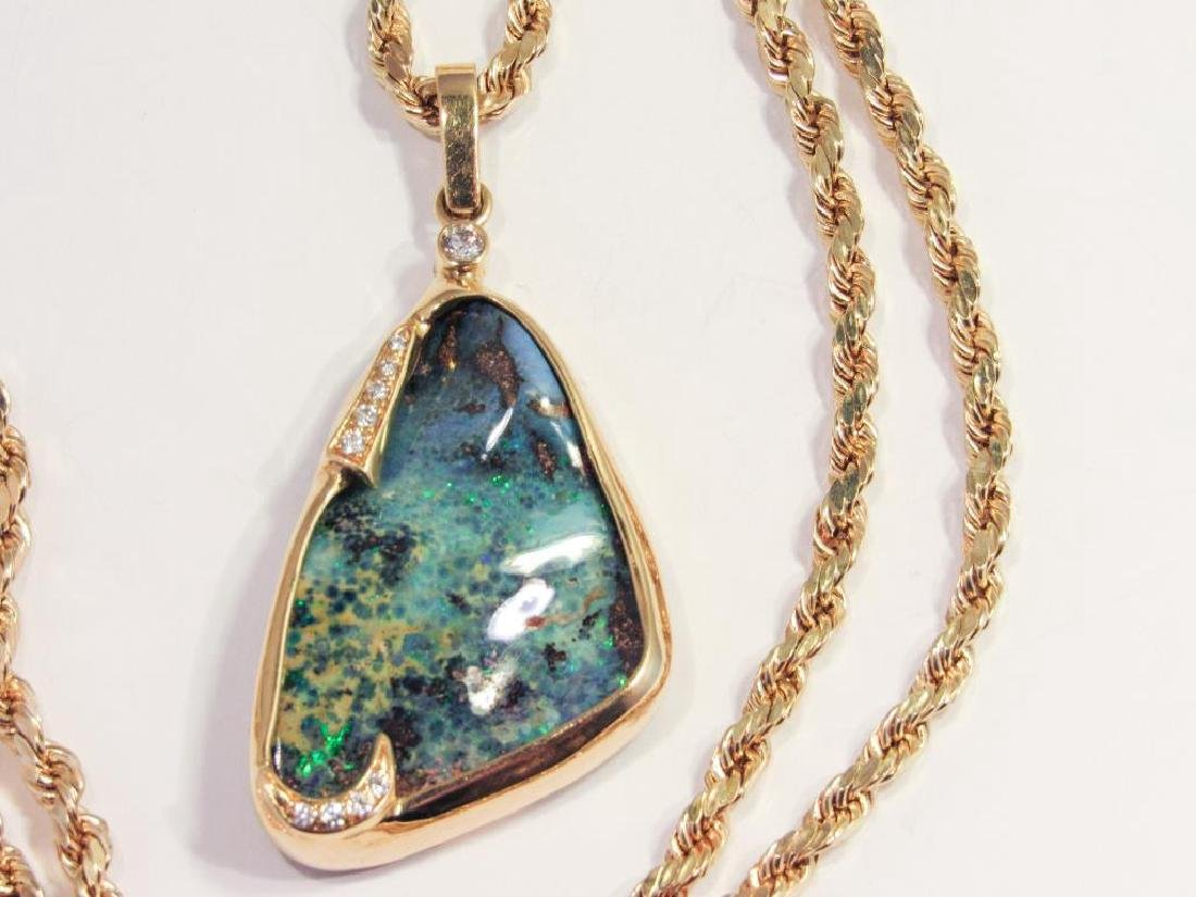 18K GOLD BOULDER OPAL PENDANT ON 14K CHAIN - 4