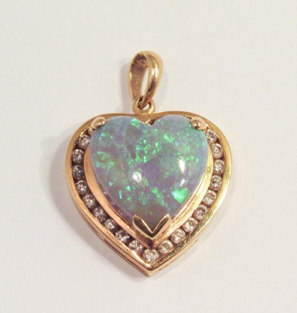 18K GOLD HEART OPAL & DIAMOND PENDANT