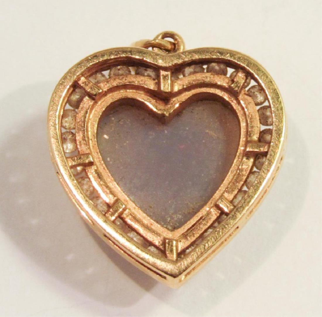 18K GOLD HEART OPAL & DIAMOND PENDANT - 2