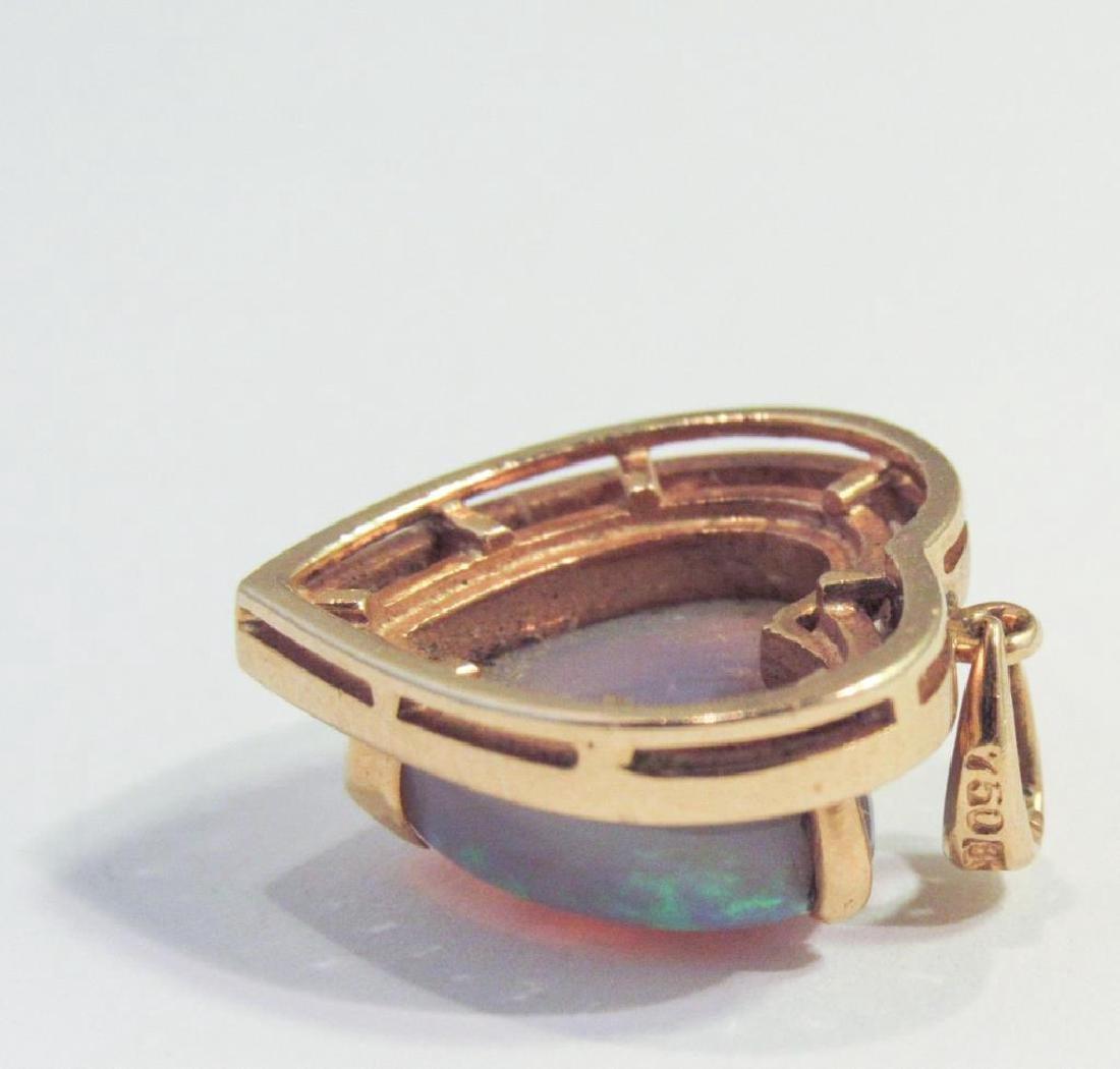 18K GOLD HEART OPAL & DIAMOND PENDANT - 3