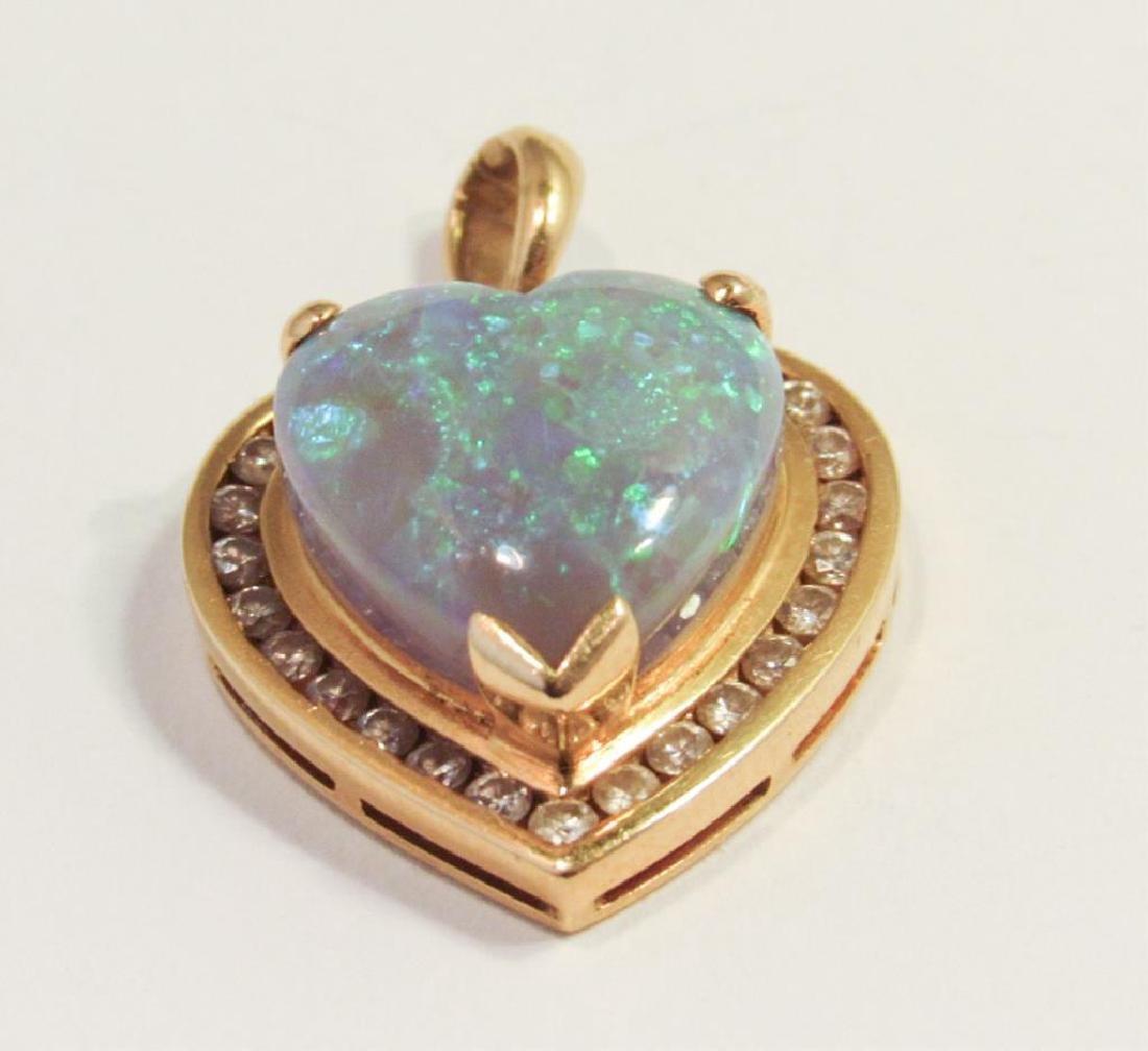 18K GOLD HEART OPAL & DIAMOND PENDANT - 4
