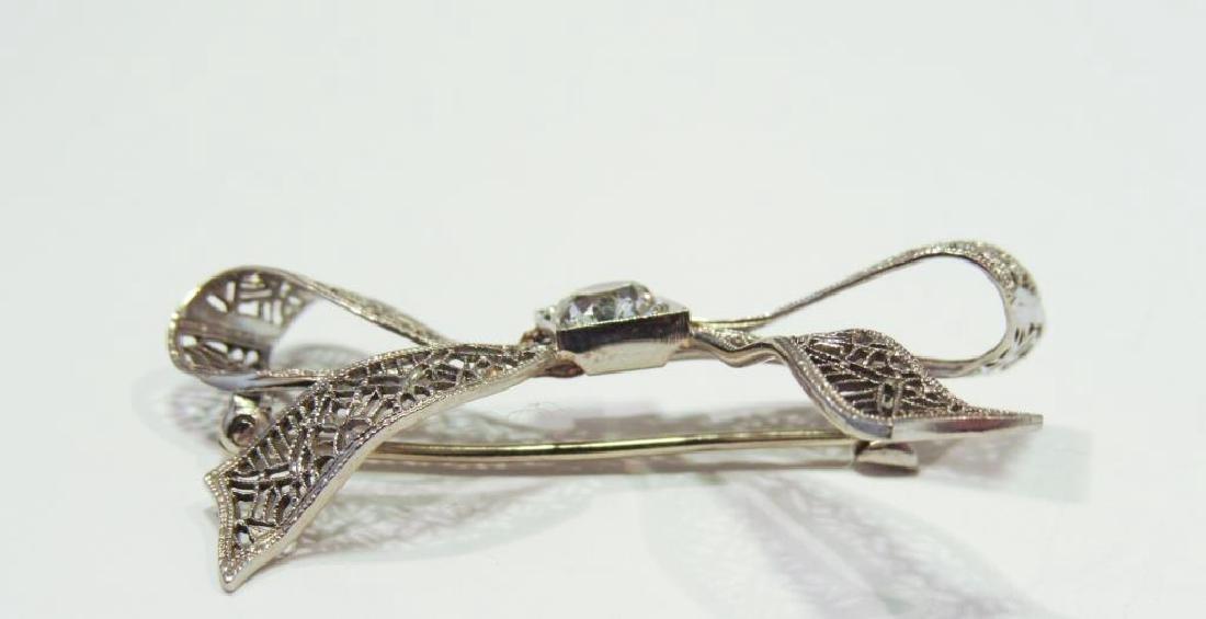 14K WHITE GOLD DIAMOND FILIGREE PIN - 4