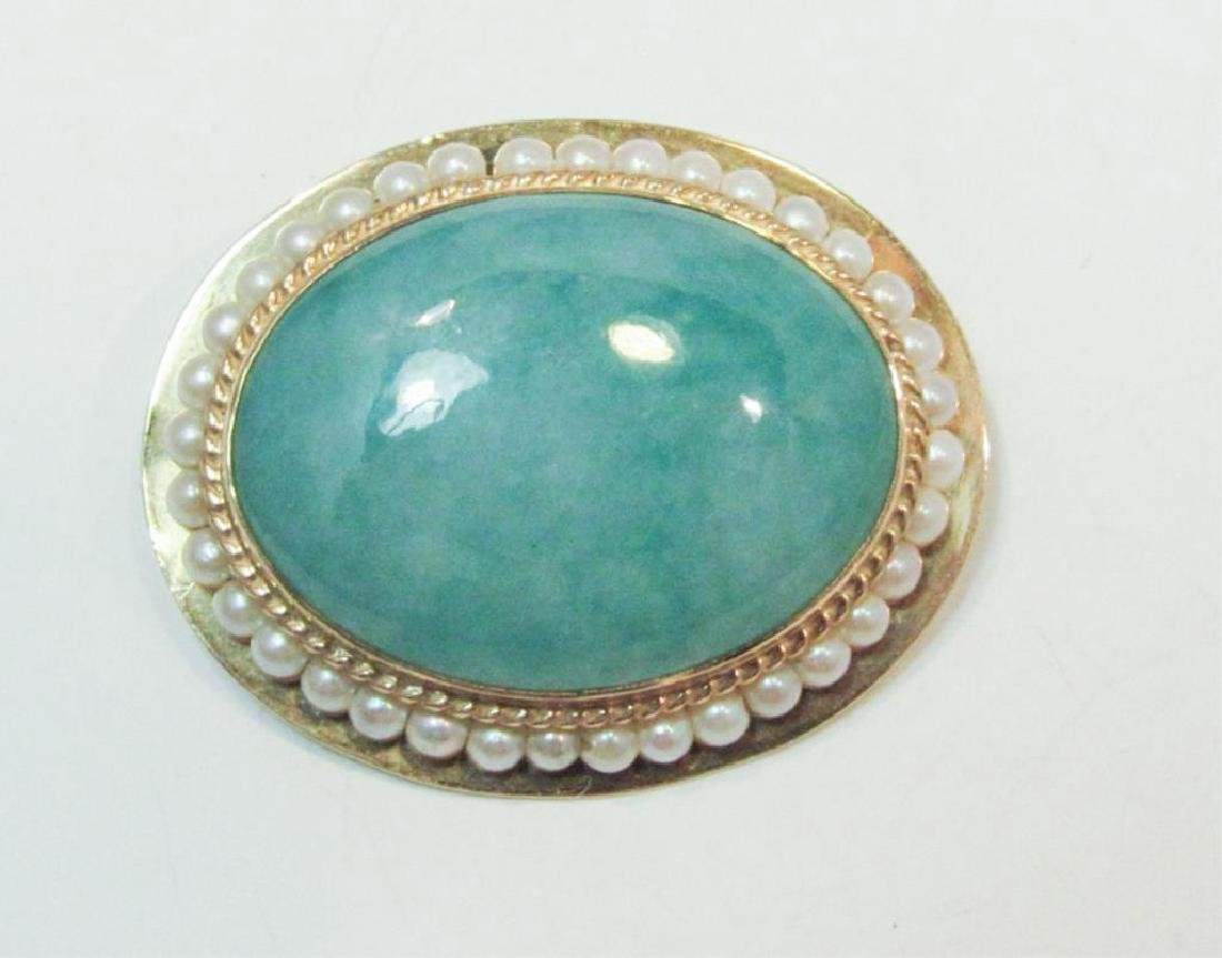 14K GOLD JADE AND PEARL PIN