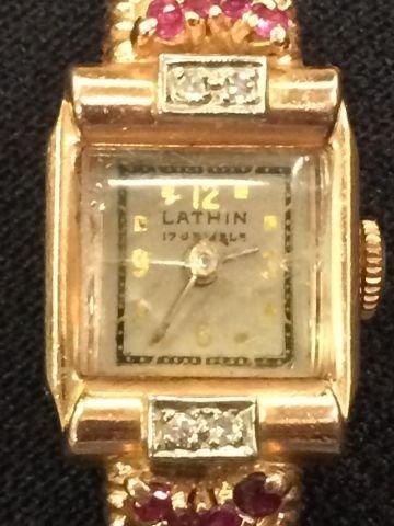 14K GOLD LATHIN 17 JEWEL LADIES WRIST WATCH - 6