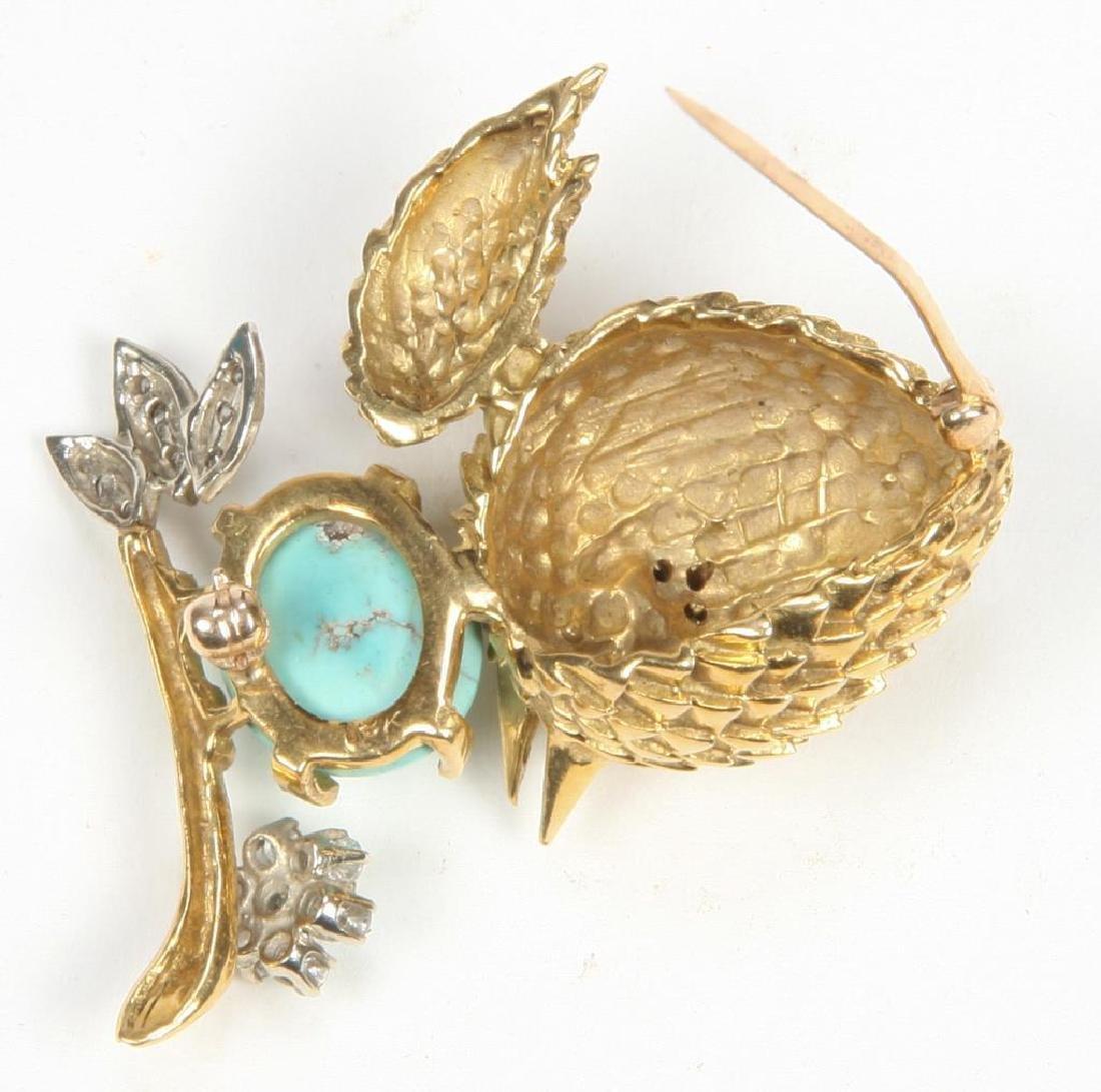 18K GOLD BIRD with EGG BROOCH - 2