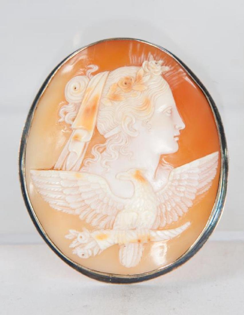VICTORIAN CAMEO BROOCH WITH GODDESS AND EAGLE