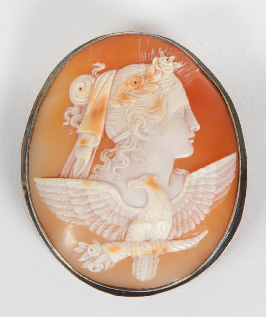 VICTORIAN CAMEO BROOCH WITH GODDESS AND EAGLE - 3