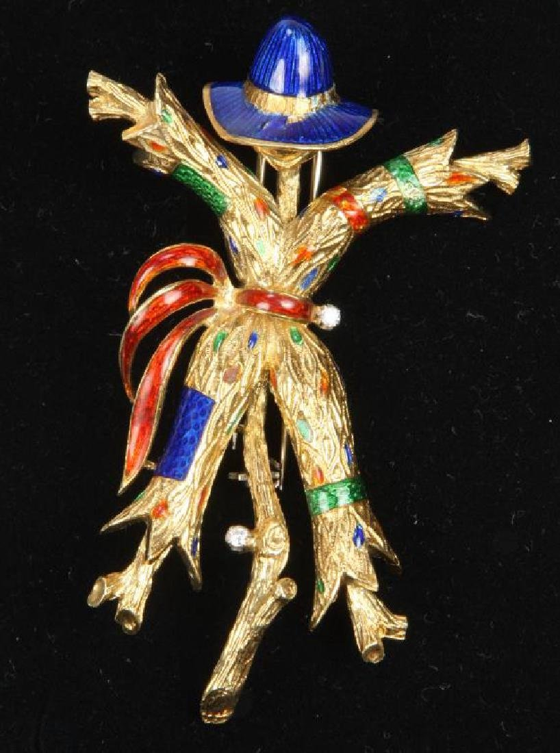18K GOLD and ENAMEL SCARECROW BROOCH
