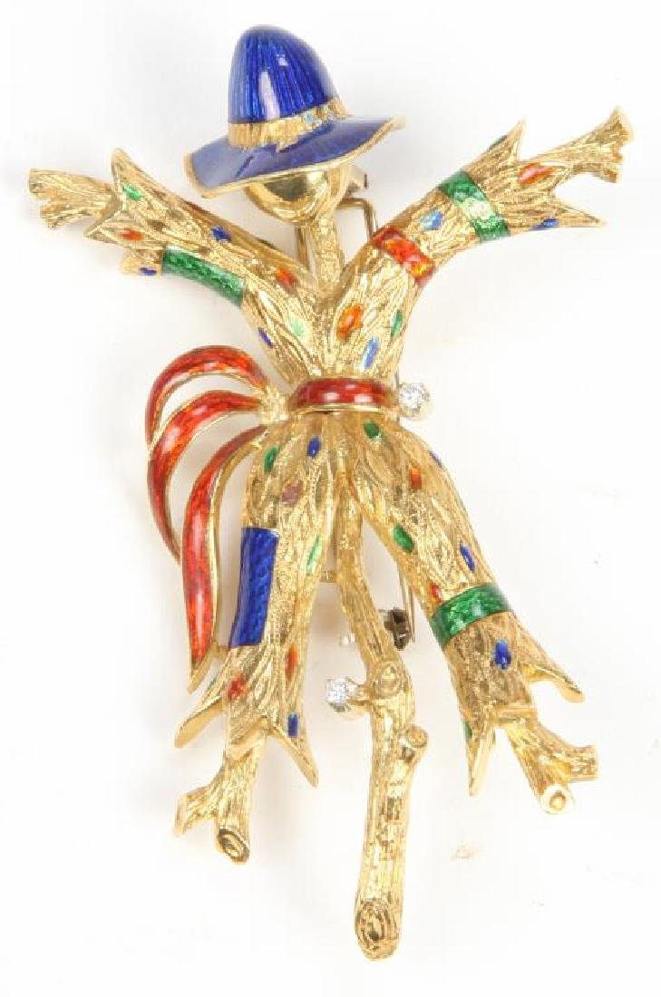 18K GOLD and ENAMEL SCARECROW BROOCH - 2