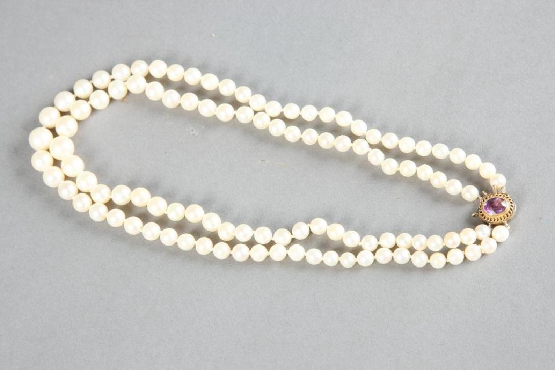 DOUBLE STRAND OF PEARLS with 1.5 CARAT AMETHYST