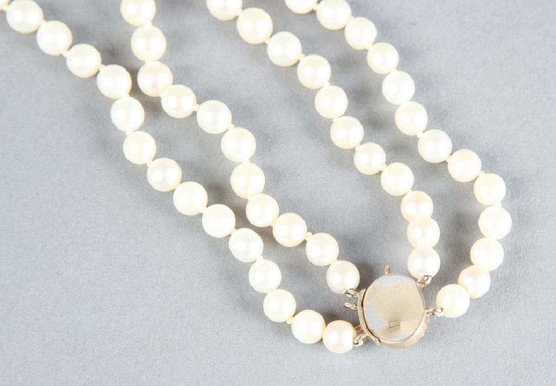 DOUBLE STRAND OF PEARLS with 1.5 CARAT AMETHYST - 2
