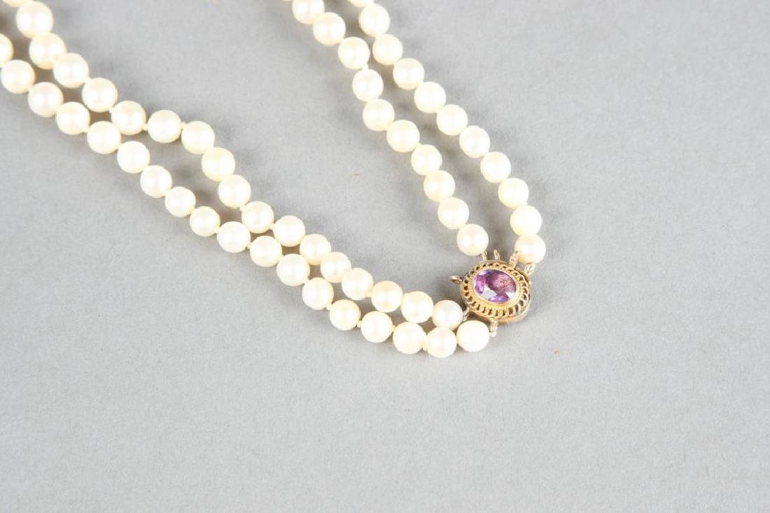 DOUBLE STRAND OF PEARLS with 1.5 CARAT AMETHYST - 4